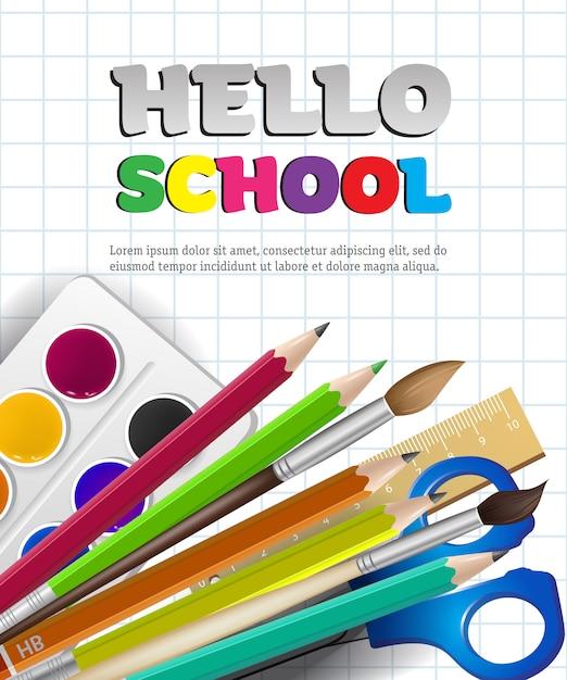 こんにちはスクールレタリングと四角い紙での供給 無料ベクター