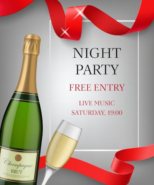 シャンパンボトルとゴブレット付きナイトパーティレタリング 無料ベクター
