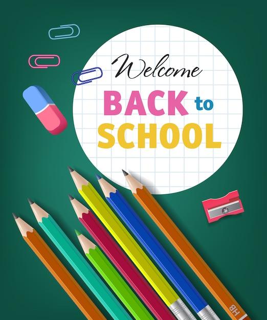 色鉛筆で学校のレタリングに戻ってようこそ 無料ベクター