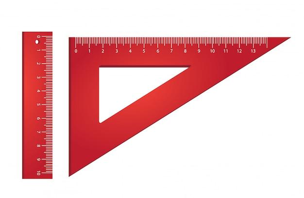 ルーラーと三角形。測定、ツール、ジオメトリ。 無料ベクター
