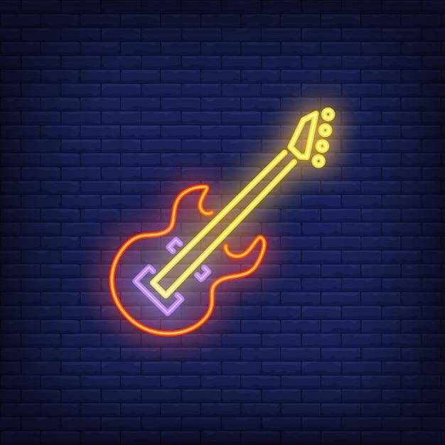 ベースギターネオンサイン 無料ベクター