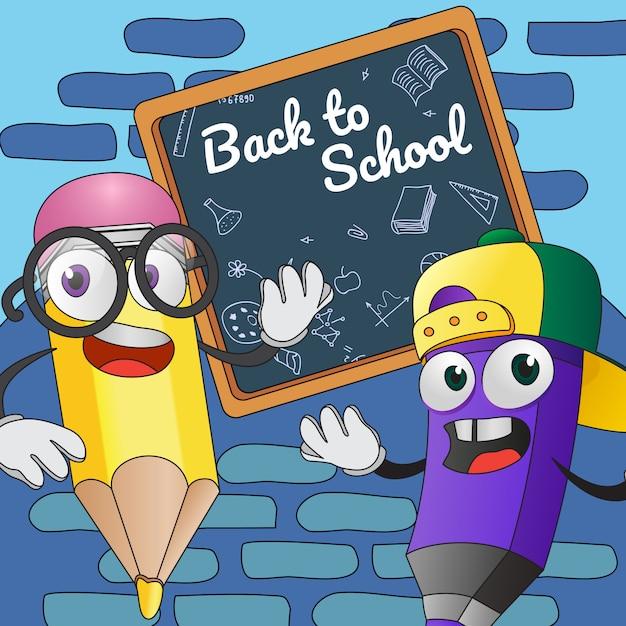 学校のポスターデザインに戻ります。ボード上の漫画の鉛筆 無料ベクター