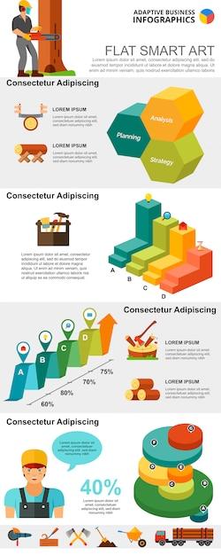 ロギング業界および管理コンセプトのインフォグラフィックチャートセット 無料ベクター
