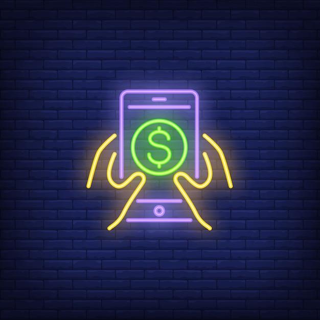 スマートフォン、ドル記号で手をつける 無料ベクター