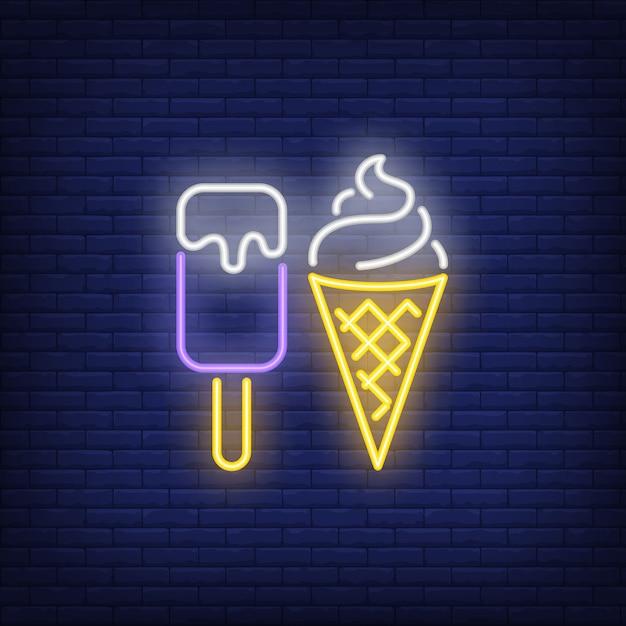 アイスクリームバーとコーンネオンサイン 無料ベクター
