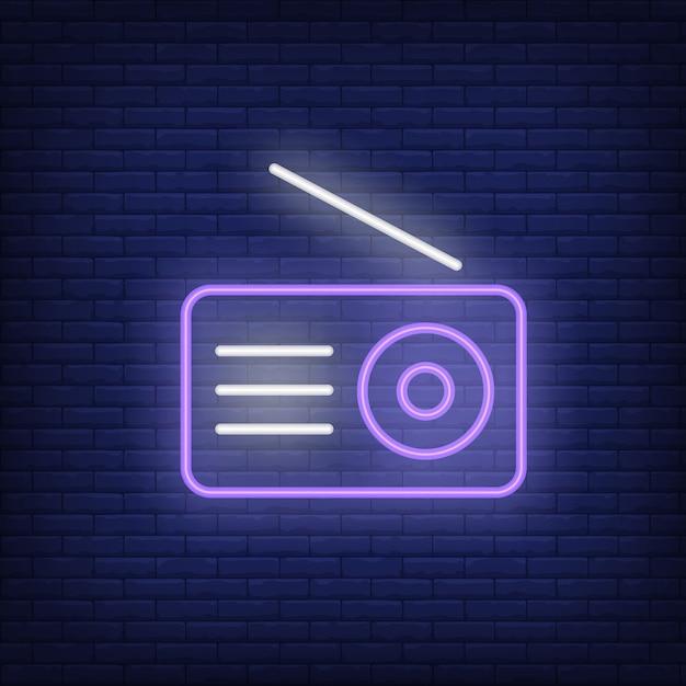 ラジオセットネオンアイコン。アンテナ付き受信機 無料ベクター