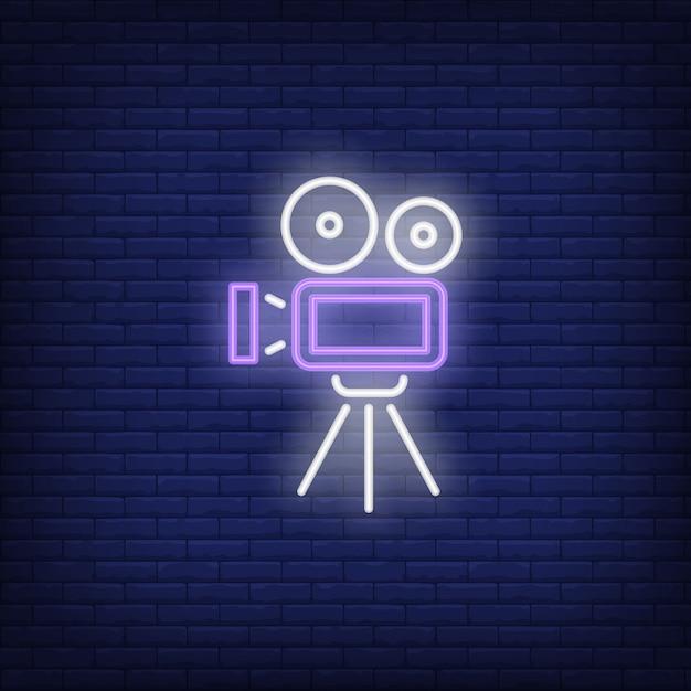 ビデオカメラのネオンサイン 無料ベクター