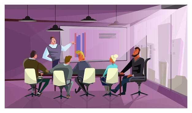 企業財務を説明するビジネスマンのイラスト 無料ベクター