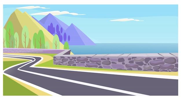 海と山のイラストレーションの国道 無料ベクター