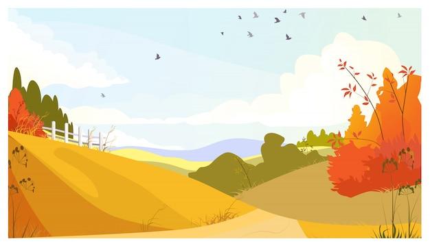 茂みと草原のある田舎風景 無料ベクター