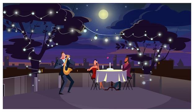 ロマンチックな夕食の屋外のイラストでカップル 無料ベクター
