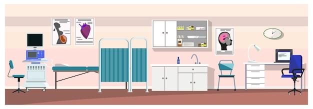 超音波スキャナのイラスト付き病院の部屋 無料ベクター