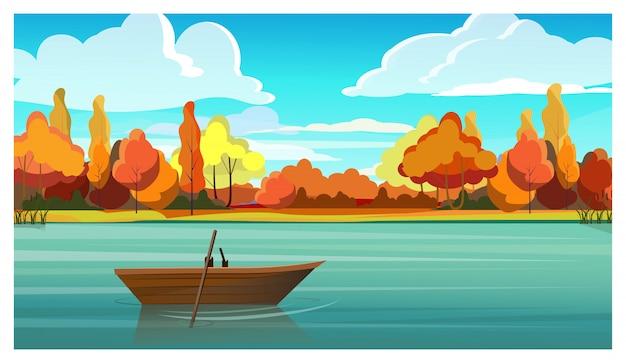 背景に空のボートと秋の木がある湖 無料ベクター
