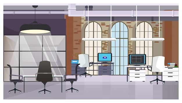 レンガの壁と窓のイラスト付きロフトインテリア 無料ベクター