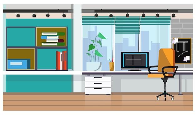 デスクトップコンピュータのイラスト付きのオフィステーブル 無料ベクター