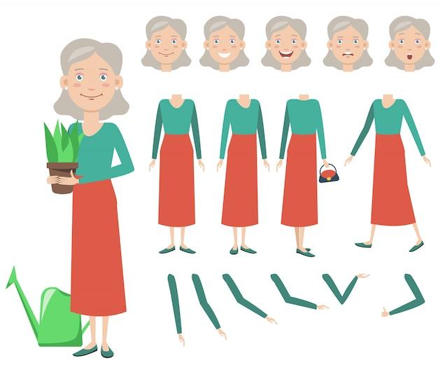 鉢植えのキャラクターセットを持つおばあちゃん 無料ベクター