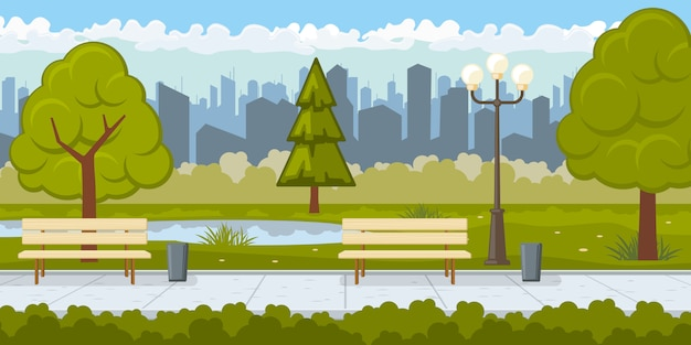 アスファルトパスのある公立公園のイラスト 無料ベクター