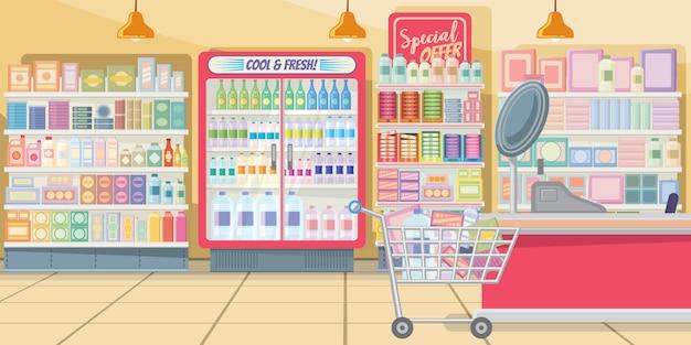 Супермаркет с иллюстрациями на полках для еды Бесплатные векторы