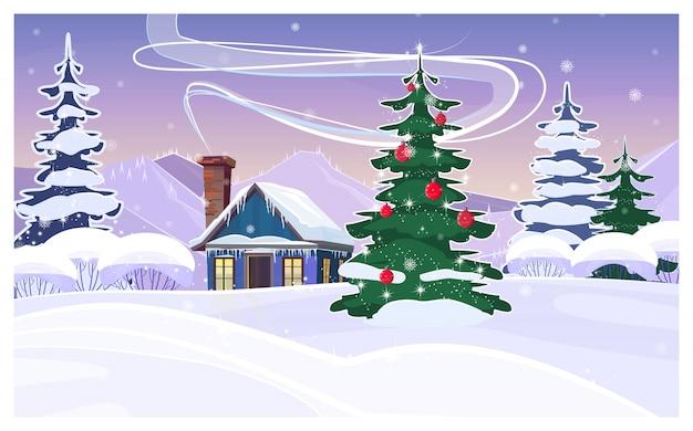 家と飾られたモミの木と冬の風景 無料ベクター