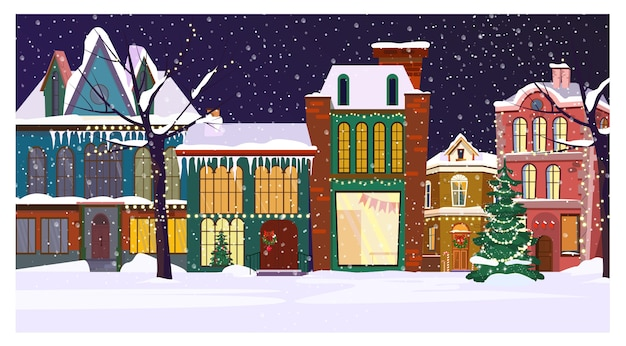 家と飾られたモミの木と冬の夜の街並み 無料ベクター