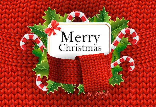 Веселая рождественская открытка дизайн. леденцы Бесплатные векторы