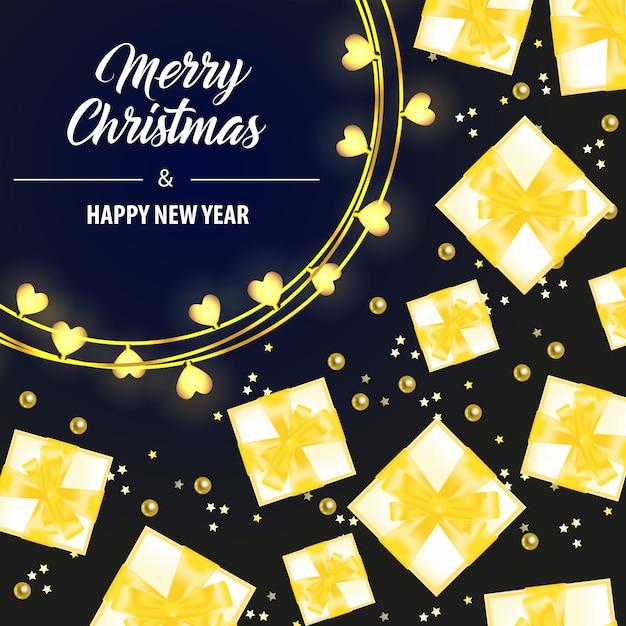 イエローギフトボックス付きのメリークリスマスレタリング 無料ベクター