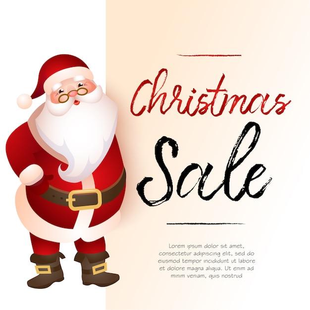 サンタクロースとクリスマスセールライトベージュバナーデザイン 無料ベクター