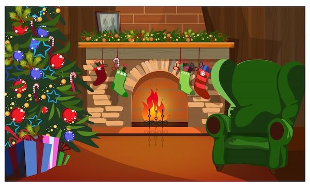 モミの木、暖炉、靴下で装飾されたクリスマスのインテリア 無料ベクター