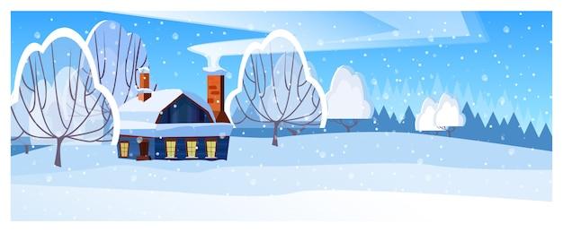 Зимний пейзаж с домиком и деревьями Бесплатные векторы