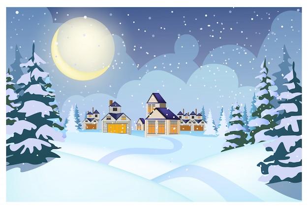 Зимний пейзаж с коттеджами, сугробами и елями Бесплатные векторы
