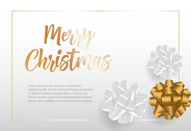 Счастливого рождества надписи в рамке с бантами из ленты Бесплатные векторы
