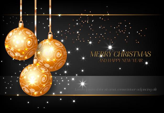 金色の装飾ボールポスターデザインとメリークリスマス 無料ベクター