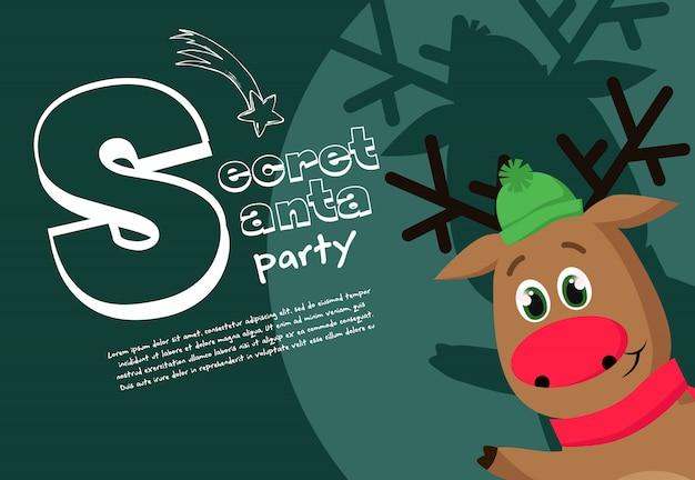 帽子の優しい鹿と秘密のサンタパーティーバナーデザイン 無料ベクター