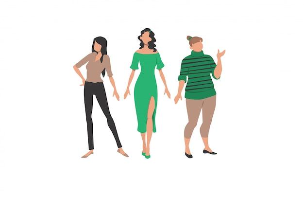 Три женщины, представляющие разные стили и типы телосложения Бесплатные векторы