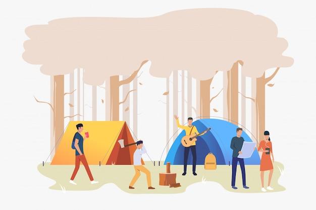 キャンプ場の図でテントを持つ観光客 無料ベクター