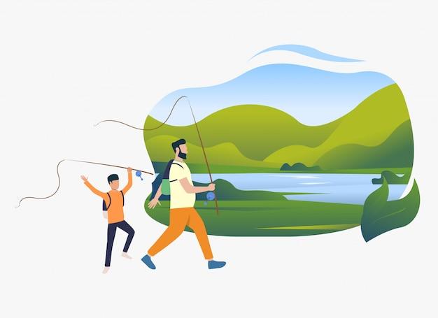 父と息子の釣り竿、湖のある風景を保持 無料ベクター