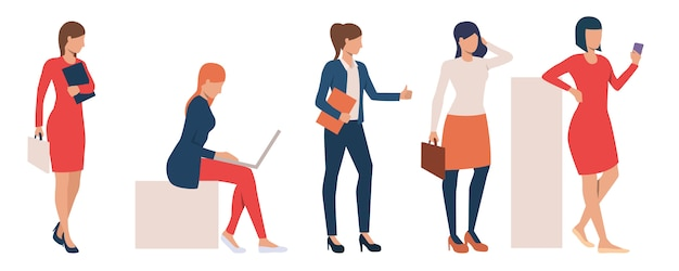 タスクを実行する現代のビジネス女性のセット 無料ベクター