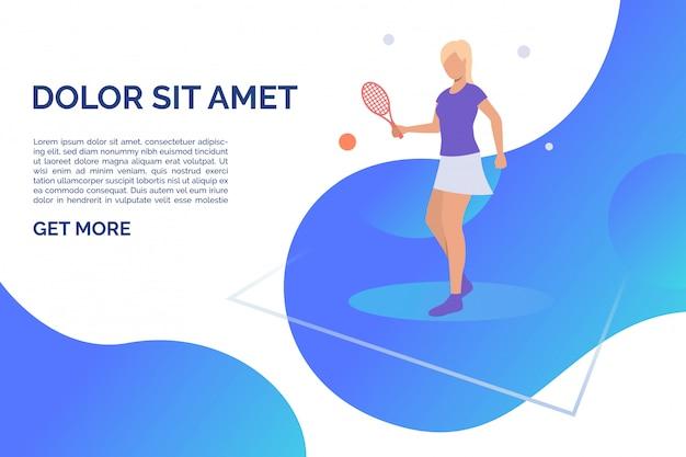 Женщина играет в теннис с образцом текста Бесплатные векторы