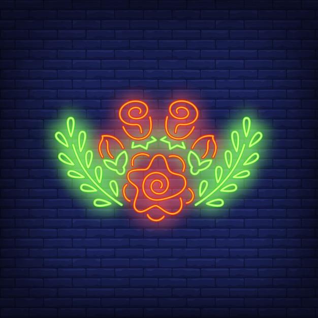 Цветочные украшения неоновая вывеска Бесплатные векторы