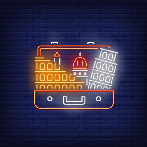 Пизанская башня и колизей в открытом чемодане неоновая вывеска Бесплатные векторы