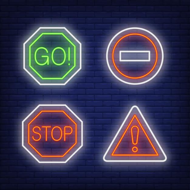 Восклицательный знак, идти и останавливать движение неоновых знаков Бесплатные векторы