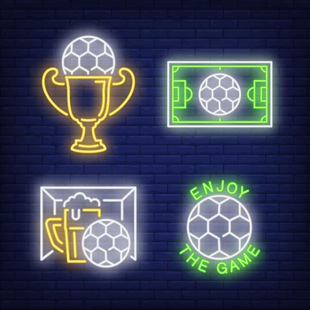 サッカーネオンサインセット。サッカーボール、ビール、カップ 無料ベクター