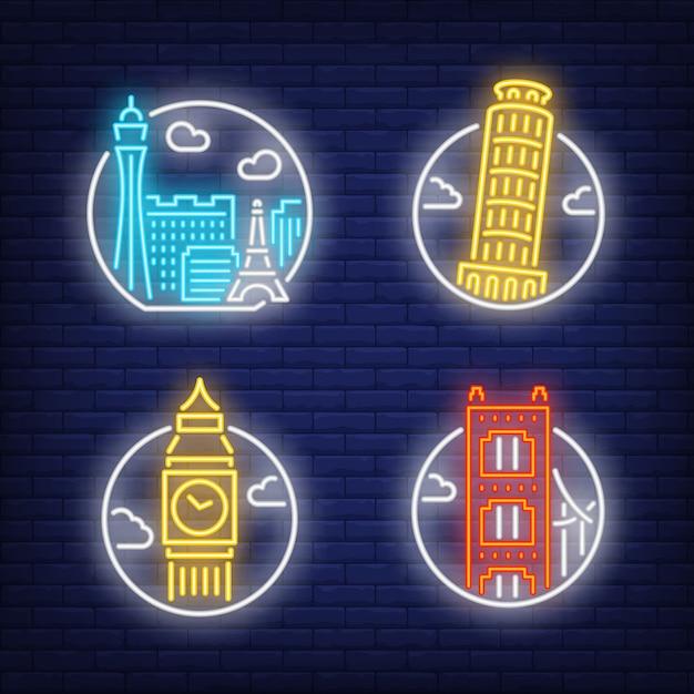 Ориентиры неоновый знак установлен. лас-вегас, лондон Бесплатные векторы