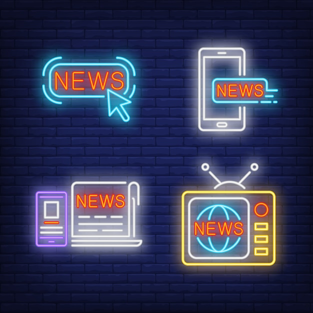ニュースボタン、テレビセット、新聞、スマートフォンのネオンサイン 無料ベクター