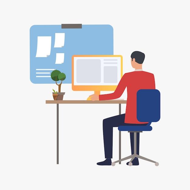 実業家のオフィス内のコンピューターでの作業 無料ベクター