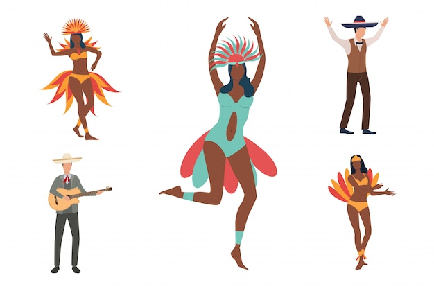 ソンブレロスのアフリカのダンサーそして男性のコレクション 無料ベクター