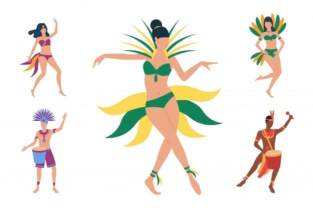 衣装でブラジルのダンサーのコレクション 無料ベクター