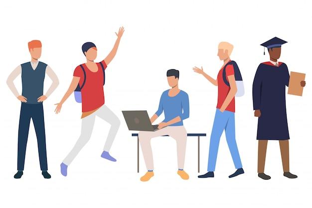 Коллекция межрасовых студентов, наслаждающихся жизнью Бесплатные векторы