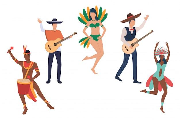 ブラジルのカーニバルでミュージシャンのコレクション 無料ベクター