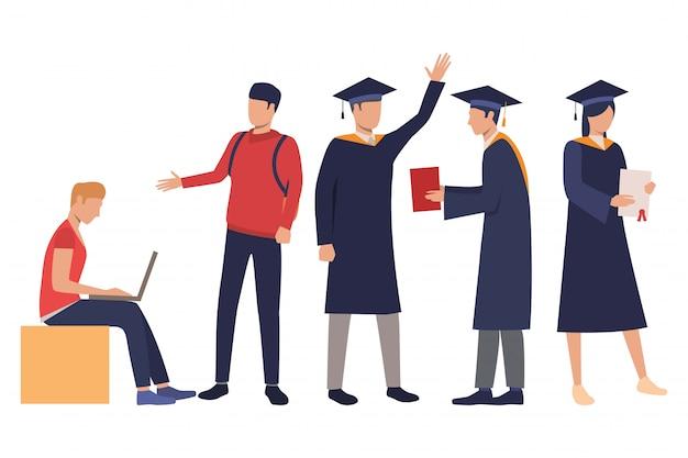 卒業ガウンの若い学生のコレクション 無料ベクター